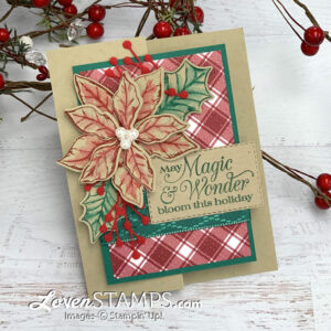 plaid tidings dsp with poinsettia petals stamp set christmas card z-fold stampin up tutorial by lovenstamps