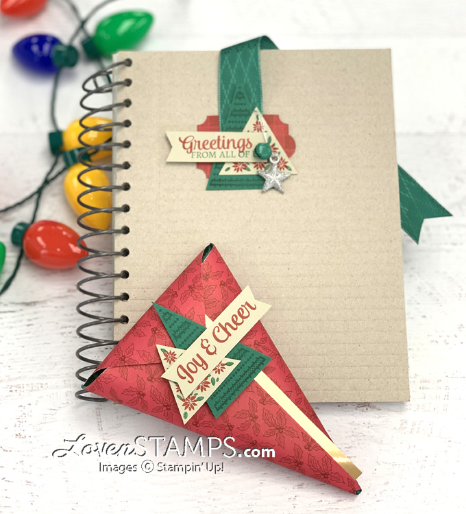 tree angle stamp set triangle treat pouch with bookmark christmas gift idea tis the season dsp from stampin up