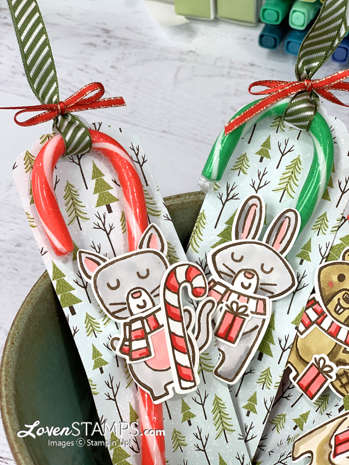 candy cane gift idea reindeer bunny beaver cut outs in pottery bowl
