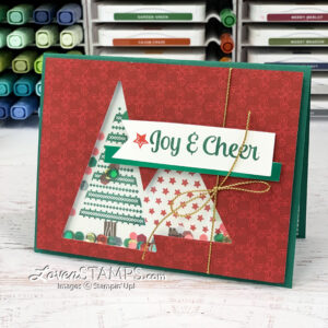red green christmas tree shaker card with sequins handmade