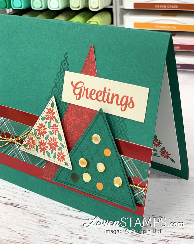 green and red triangle christmas tree greeting card ink markers hand made