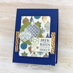 christmas pop up card ornaments blue green copper