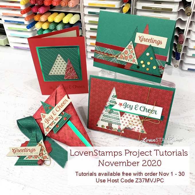 triangle christmas tree cards red green tan project tutorials by lovenstamps