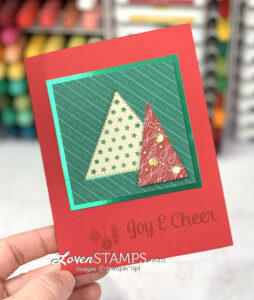 christmas card red green triangle trees