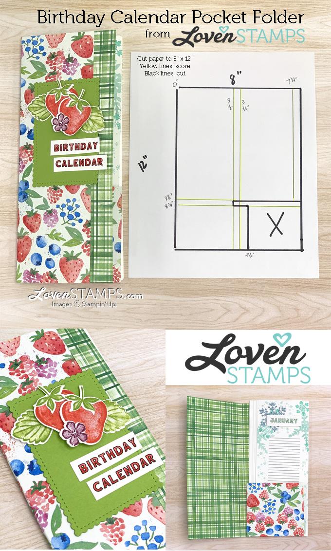 DIY strawberry birthday calendar printable stampin up