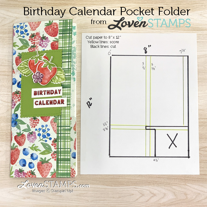 DIY strawberry birthday calendar printable stampin up