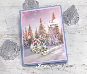 raccoon sledding winter greeting card snowy scene trees