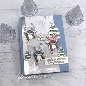 penguin snowball fight greeting card winter snowflakes