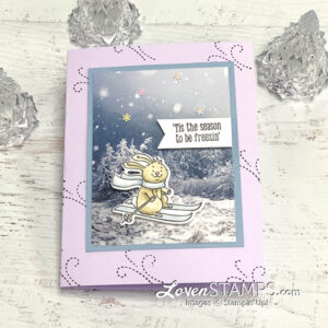 rabbit skiing winter greeting card snowy scene trees