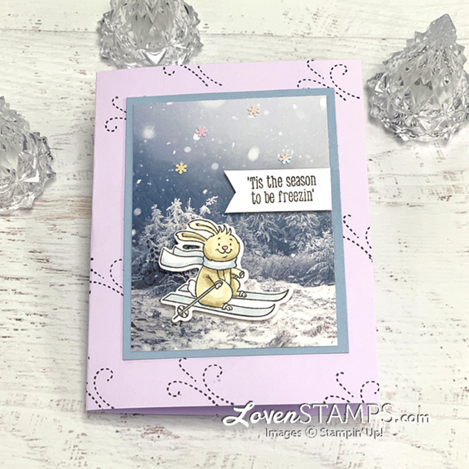 rabbit skiing winter greeting card snowy scene trees