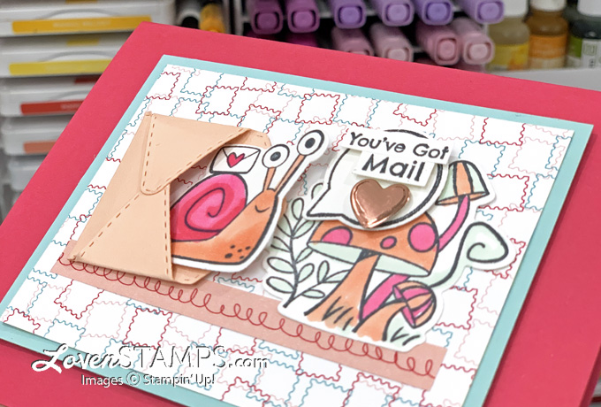snail and mushrooms greeting card colored with mini envelope