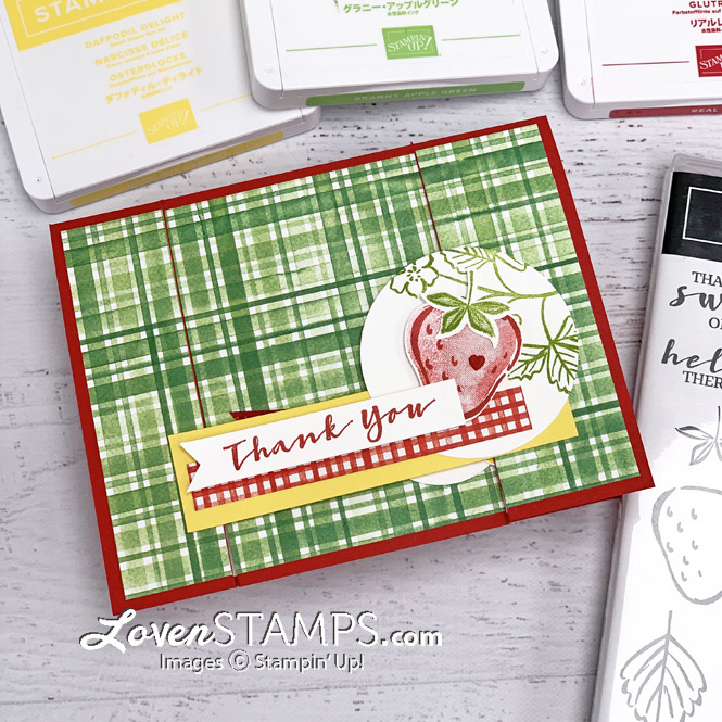 sweet strawberry builder punch greeting card ink pads stamps