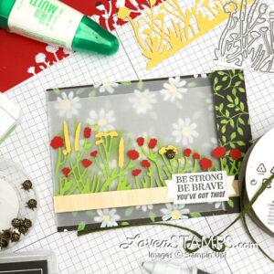 flower silhouette paper piecing greeting card glue string tutorial