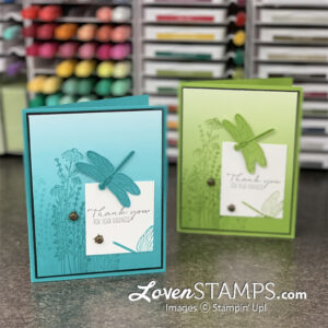 dragonfly punch greeting card thank you oh so ombre designer series paper green and turquoiuse