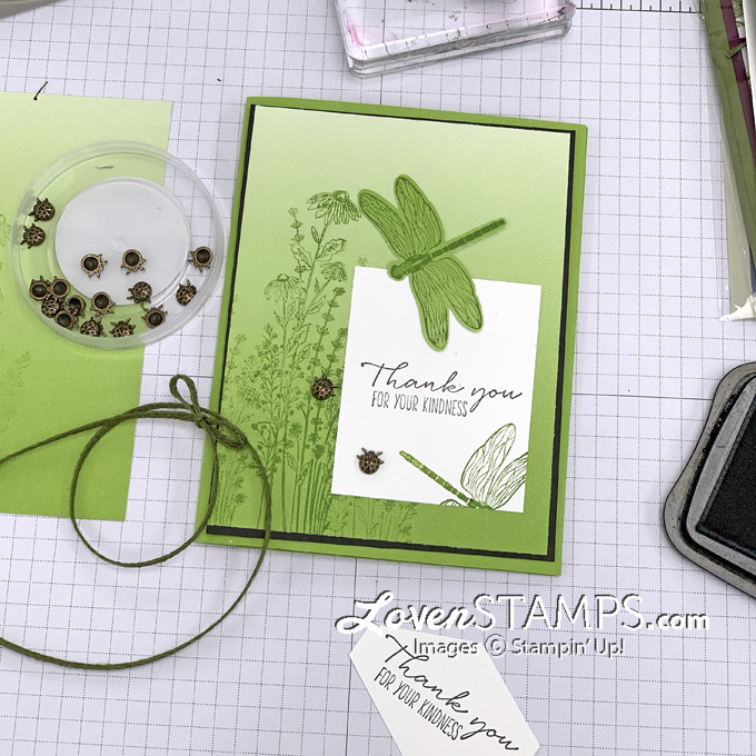 dragonfly punch greeting card thank you oh so ombre designer series paper green