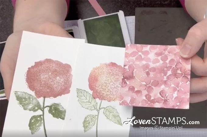 hydrangea greeting card pink peach flower ink ribbon blending brushes