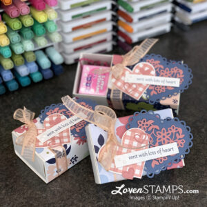 valentine treat boxes plaid heart markers stamps ribbon conversation hearts candy