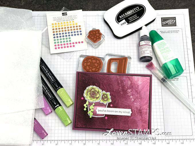 glue tissue paper faux silk stamping technique succulent pot stampin blends markers