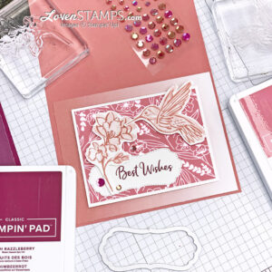 touch of ink love you always dsp frame die cut hummingbird flower foiled paper ombre card