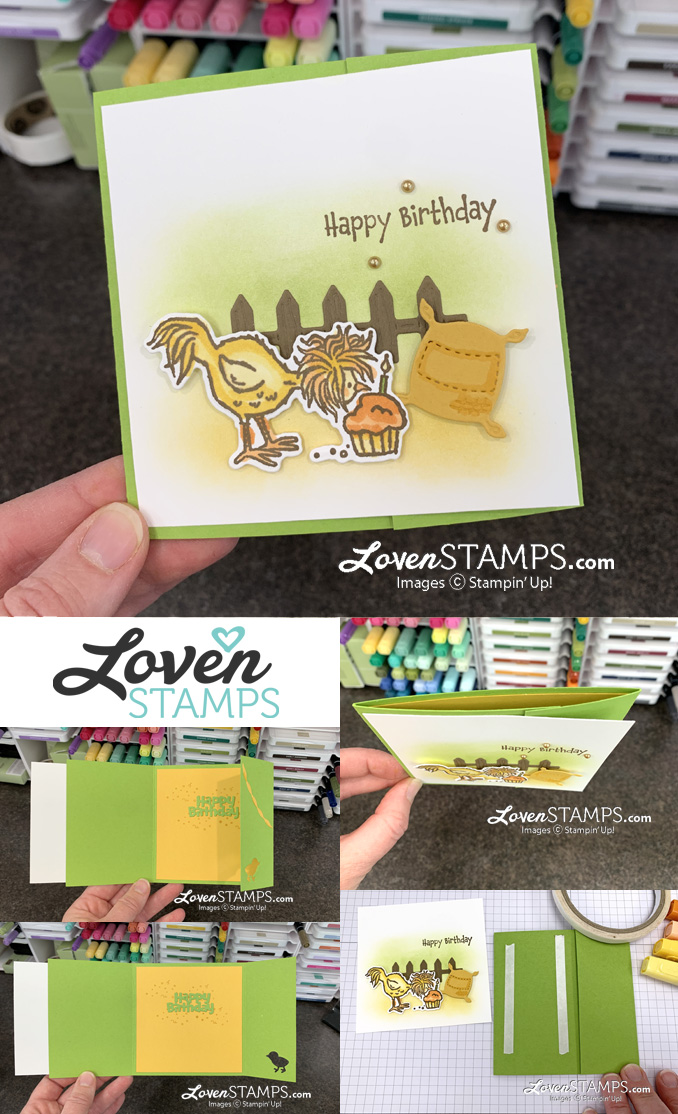 hey birthday chick trifold blending brushes background hidden buckle card