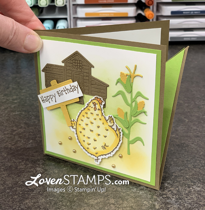 chicken barnyard corn corner pop up card stampin up markers