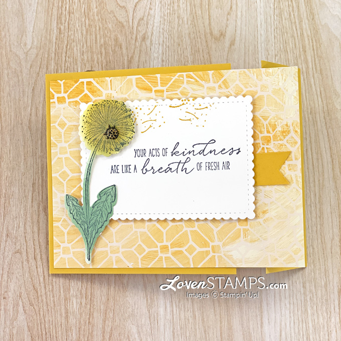 dandelion yellow fun fold card idea stamped greeting