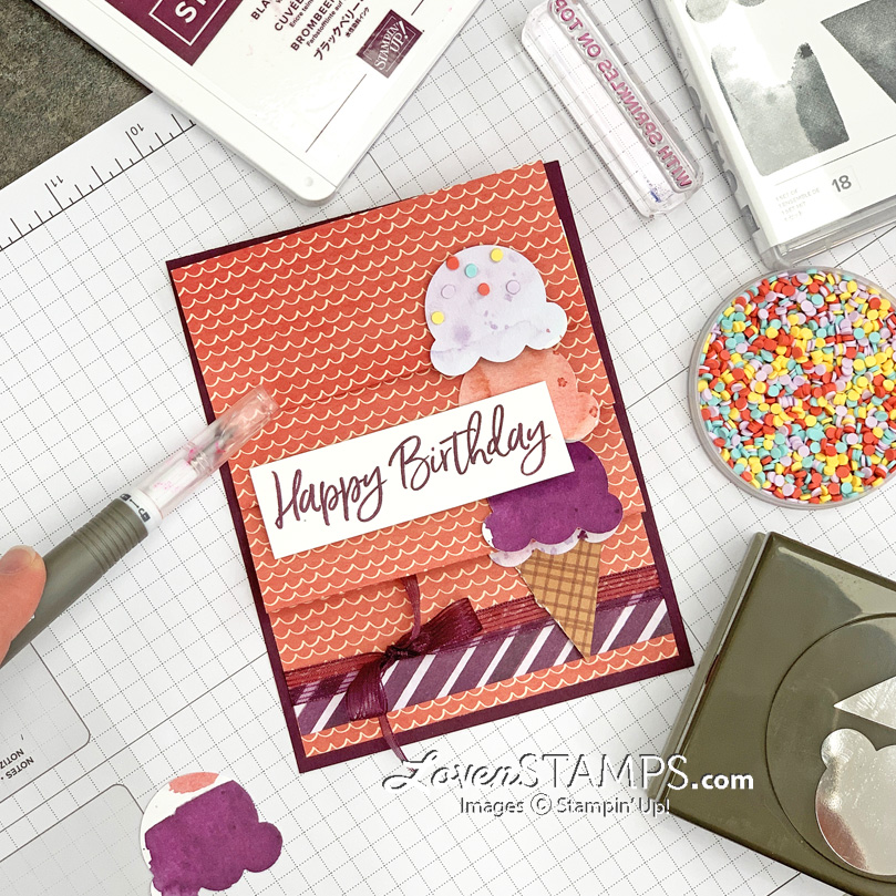 ep-121-sweet-ice-cream-builder-punch-folding-surprise-cone-card-lovenstamps-stampin-up-tutorial-open-9-scoops stamps punch sprinkles