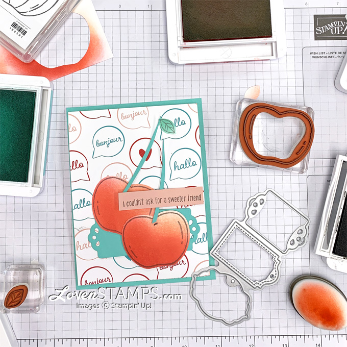 cherry diy greeting card apple builder punch retiring stampin up products tutorial lovenstamps