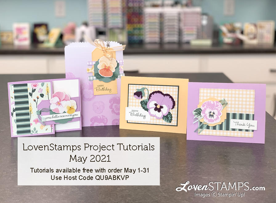 pansy petals suite card tutorials monthly kit from lovenstamps for stampin up in colors