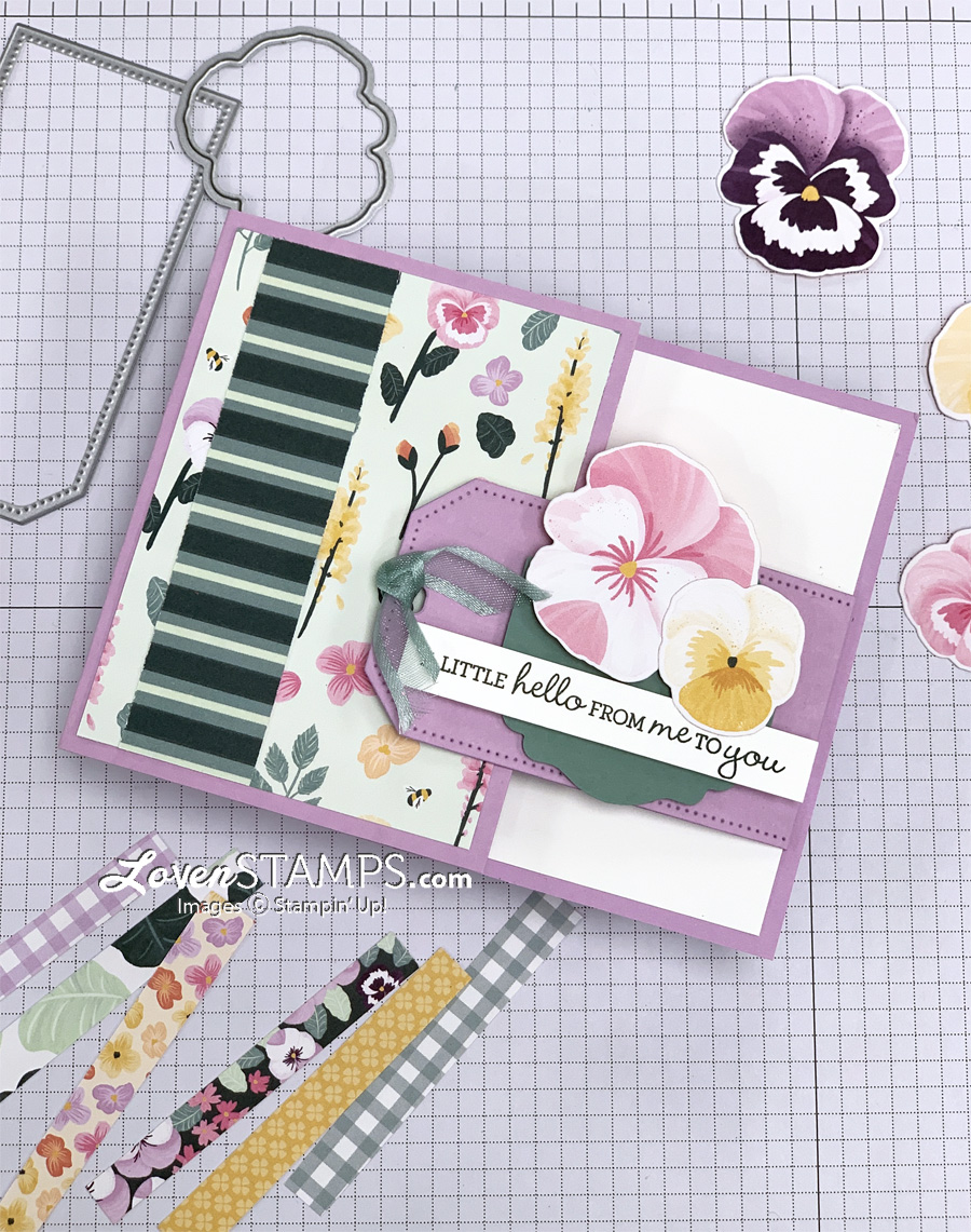 tailor-made-tags-buckle-card-fun-fold-with-pansy-petals-patch-die-stampin-up-supplies